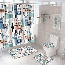 Bearsu - 4 Pcs Dinosaur Shower Curtain Sets with