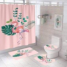 Bearsu - 4 Pcs Flamingo Shower Curtain with