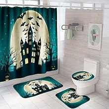 Bearsu - 4 Pcs Halloween Shower Curtain Sets with