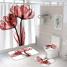 Bearsu - 4 Pcs Red Black Shower Curtain Sets with