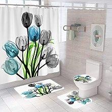 Bearsu - 4 Pcs Teal Gray Rose Shower Curtain Sets
