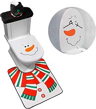Bearsu - 4-Piece Snowman Santa Toilet Seat Cover