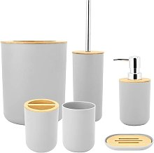 Bearsu - 6 Piece Bathroom Sets, Bathroom Accessory Set with Soap Box, Toothbrush Holder, Rinse Cup, Lotion Bottle, Trash Can and Toilet Brush, PP + Bamboo (Gray)