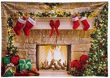 Bearsu - 7x5ft Durable Christmas Fireplace