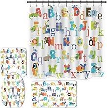 Bearsu - Alphabet Shower Curtain Set for Bathroom,