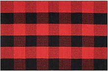 Bearsu - Black and Red Plaid Rug 100% Cotton Porch