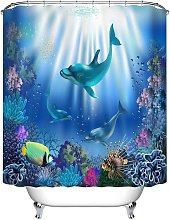 Bearsu - Dolphins Shower Curtain with Hooks, Coral