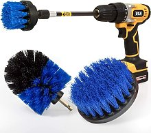Bearsu - Drill Brush 4 Pack Blue Cleaning Brush