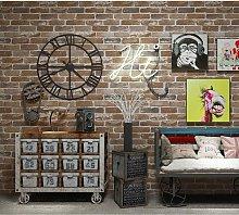 Bearsu - Faux Brick Stone Wallpaper Roll, Flat 3D