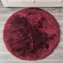 Bearsu - Faux Sheepskin Fur Area Rugs Round Fake