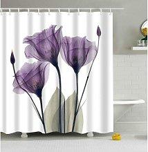 Bearsu - Flowers Shower Curtain with Minimalist