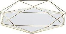 Bearsu - Gold Metal Mirror Box for Cosmetics,