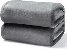 Bearsu - Gray Fleece Blanket 150x200 cm - Soft and