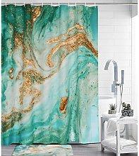 Bearsu - Marble Stall Shower Curtain Green Fabric