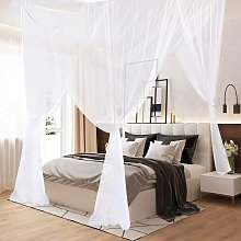 Bearsu - Mosquito Net, King Size Four Corner Post Curtains Bed Canopy for Single to Fits All Cribs and Beds for Adult Bedroom, Kids Rooms, Baby Bassinet, Garden, Camping?White?