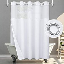 Bearsu - No Hook Shower Curtain with Snap in Liner