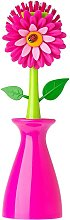 Bearsu - Pink Dish Brush with Vase, 10-Inches, Pink