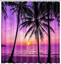 Bearsu - Purple Beach Sunset Shower Curtain