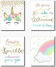 Bearsu - Rainbow Unicorn Theme Art Prints (8 X10