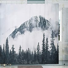 Bearsu - Shower Curtain Misty Mountains Print with