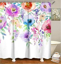 Bearsu - Watercolor floral shower curtain,