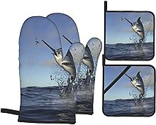 Beatiful Marlin Swordfish Jumping Out Of Water To
