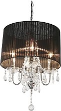 Beaumont 4 Light Chandelier, Glass, Black