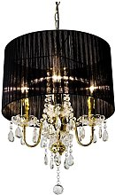 Beaumont 4 Light Chandelier, Glass, Gold
