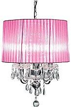 Beaumont 4 Light Chandelier, Glass, Pink
