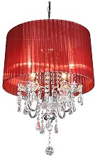 Beaumont 4 Light Chandelier, Glass, Red