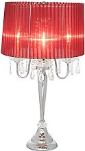 Beaumont 4 Light Table Lamp, Glass, Red