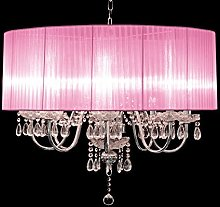 Beaumont 8 Light Chandelier, Glass, Pink