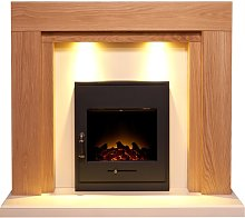 Beaumont Fireplace Suite in Oak & Cream with Oslo