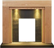 Beaumont Oak & Black Fireplace with Downlights, 48
