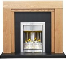 Beaumont Oak & Black Fireplace with Downlights &