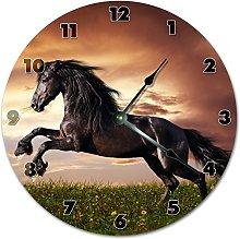 Beautiful Black Galloping Horse Wooden Wall Clock