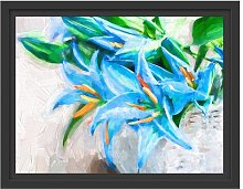 Beautiful Blue Flower Basket Framed Photographic
