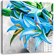 Beautiful Blue Flowers in a Basket Graphic Art