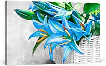 Beautiful, Blue Flowers in a Basket Wall Art on