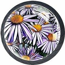 Beautiful Chrysanthemum Round Knob Metal Cabinet
