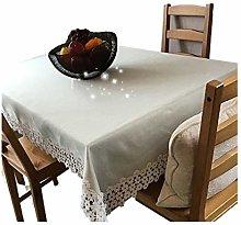 Beautiful Dark Cream Waterproof Linen Table Cloth