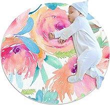 Beautiful flowers, Kids Round Rug Polyester Throw