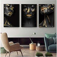 Beautiful Golden Black Lady Golden Canvas Painting
