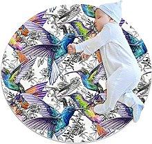 Beautiful hummingbird, Round Area Rug Pattern