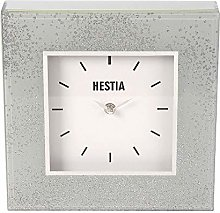 Beautiful Large Grey Glass and Glitter Mantle Clock