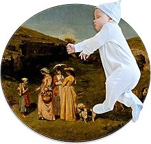 Beautiful oil painting, Kids Round Rug Polyester