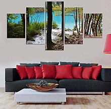 Beautiful Scenery Forest5 Panel Wall Art Paintings