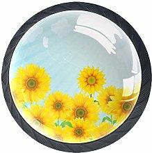 Beautiful Sunflower 4 PCS Decorative Cabinet