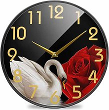 Beautiful Swan Red Rose Round Wall Clock, Silent