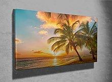 Beautiful tropical beach palm trees photo framed